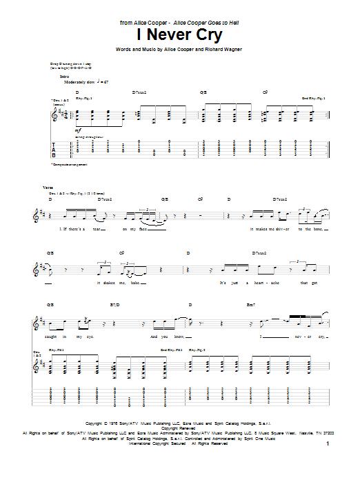Tablature guitare I Never Cry de Alice Cooper - Tablature Guitare