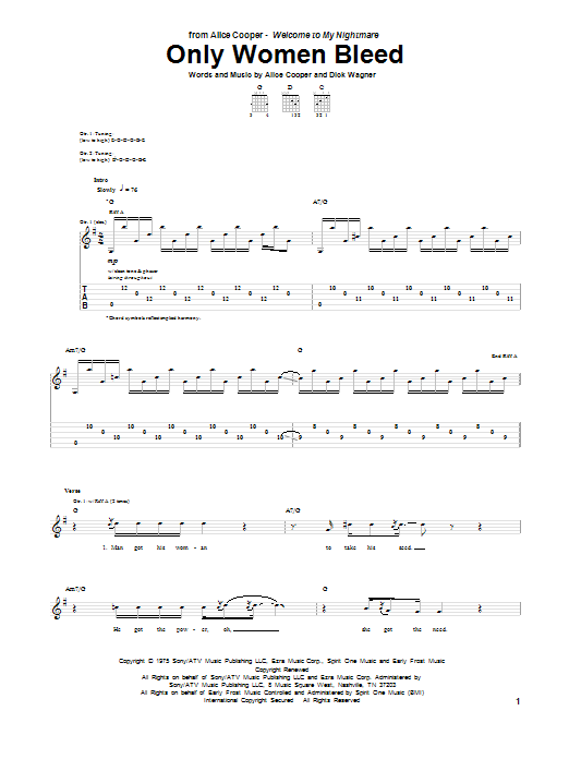 Tablature guitare Only Women Bleed de Alice Cooper - Tablature Guitare