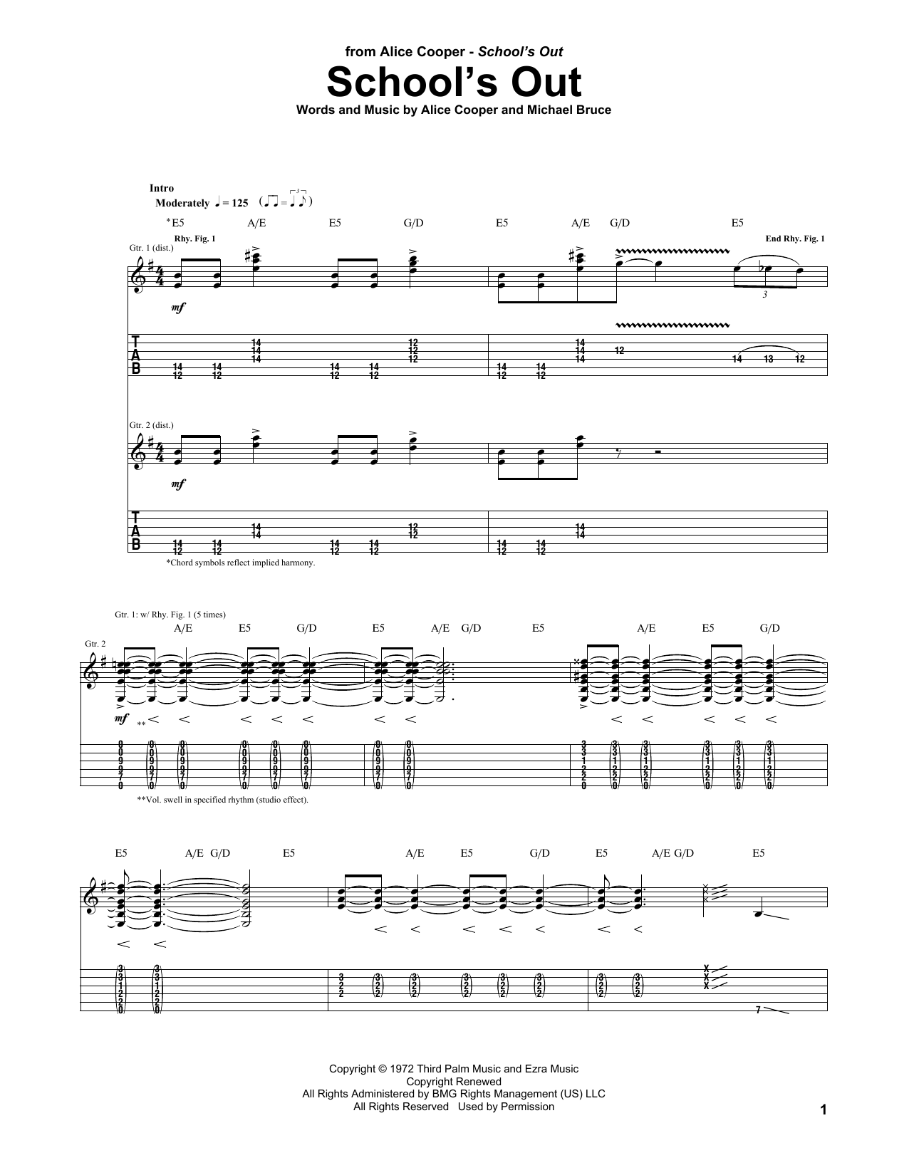 Tablature guitare School's Out de Alice Cooper - Tablature Guitare