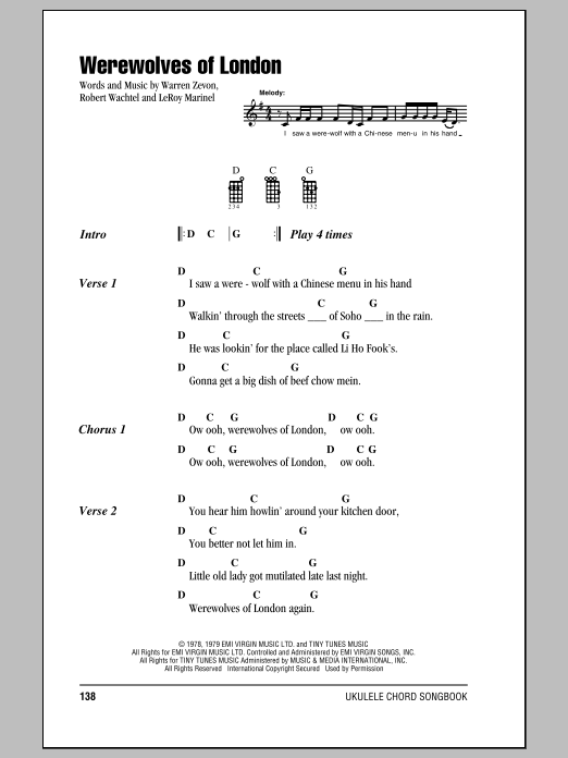 Tablature guitare Werewolves Of London de Warren Zevon - Ukulele (strumming patterns)