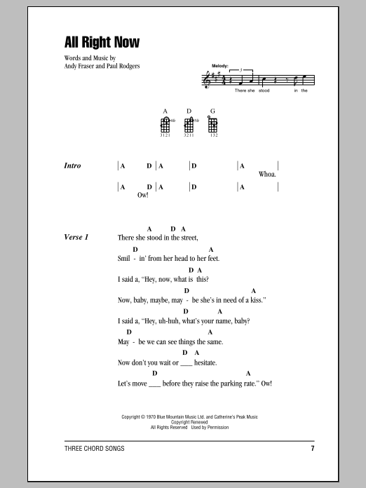 Tablature guitare All Right Now de Free - Ukulele (strumming patterns)