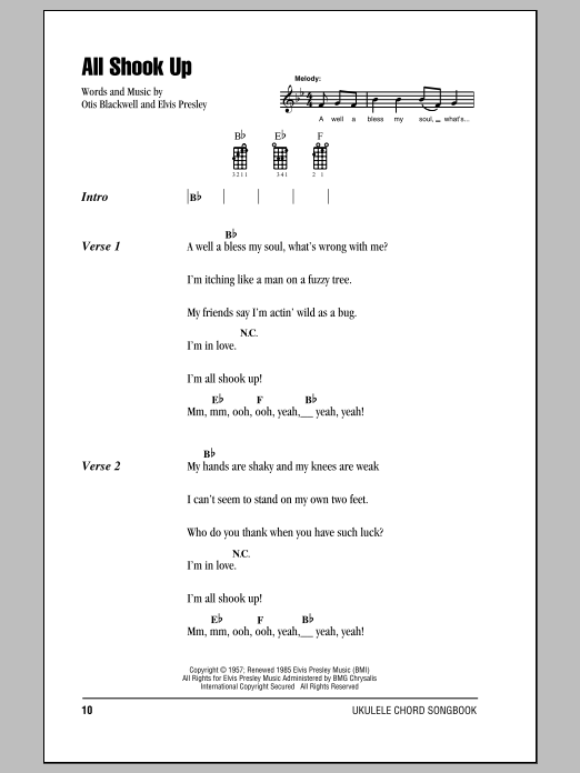 Tablature guitare All Shook Up de Elvis Presley - Ukulele (strumming patterns)
