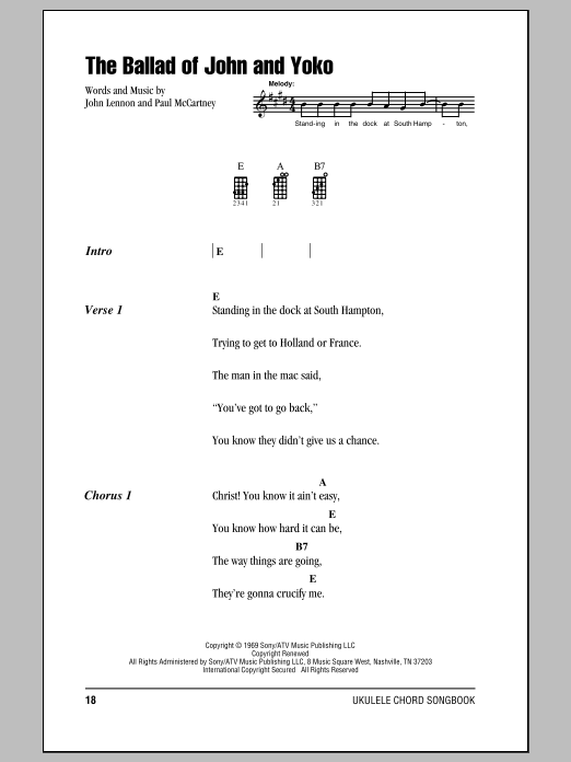 Tablature guitare The Ballad Of John And Yoko de The Beatles - Ukulele (strumming patterns)