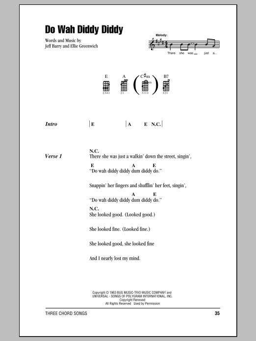 Tablature guitare Do Wah Diddy Diddy de Manfred Mann - Ukulele (strumming patterns)