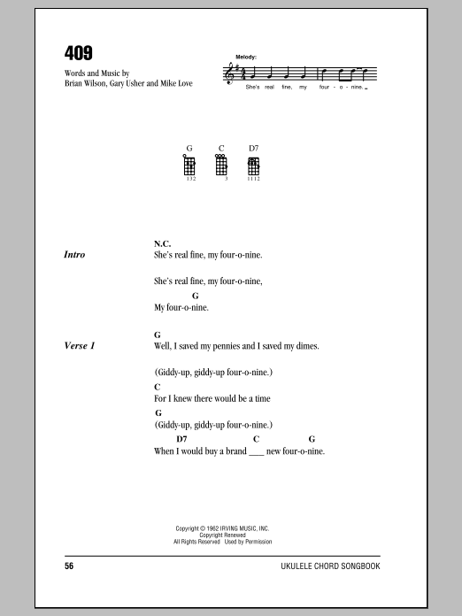 409 sheet music for ukulele (chords) by Mike Love
