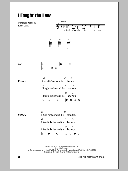 Tablature guitare I Fought The Law de Bobby Fuller Four - Ukulele (strumming patterns)