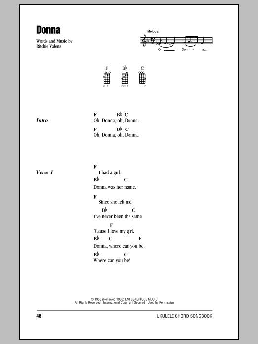 Tablature guitare Donna de Ritchie Valens - Ukulele (strumming patterns)