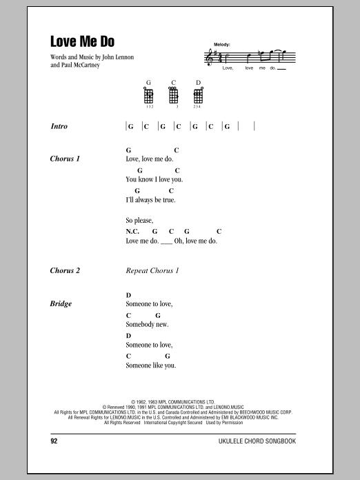 Tablature guitare Love Me Do de The Beatles - Ukulele (strumming patterns)