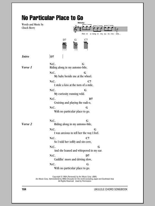 Tablature guitare No Particular Place To Go de Chuck Berry - Ukulele (strumming patterns)