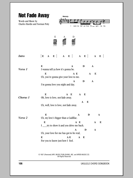 Tablature guitare Not Fade Away de The Rolling Stones - Ukulele (strumming patterns)