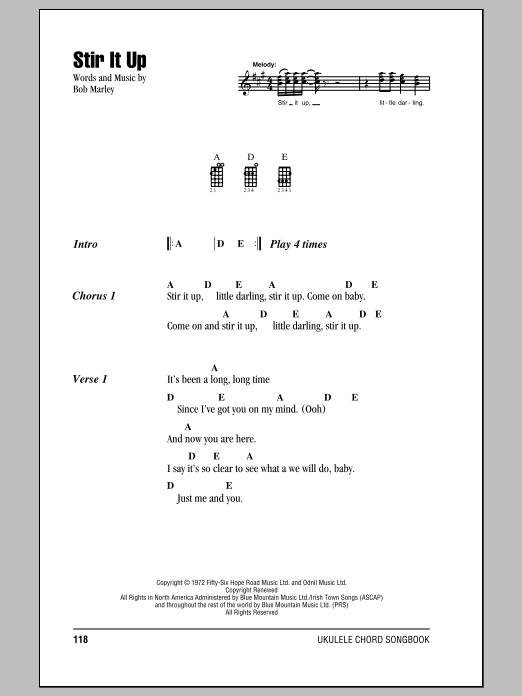 Tablature guitare Stir It Up de Bob Marley - Ukulele (strumming patterns)