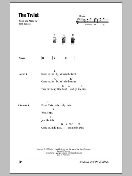 Tablature guitare The Twist de Chubby Checker - Ukulele (strumming patterns)
