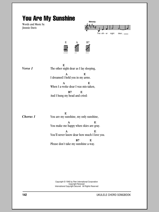 You Are My Sunshine sheet music for ukulele (chords) by Duane Eddy