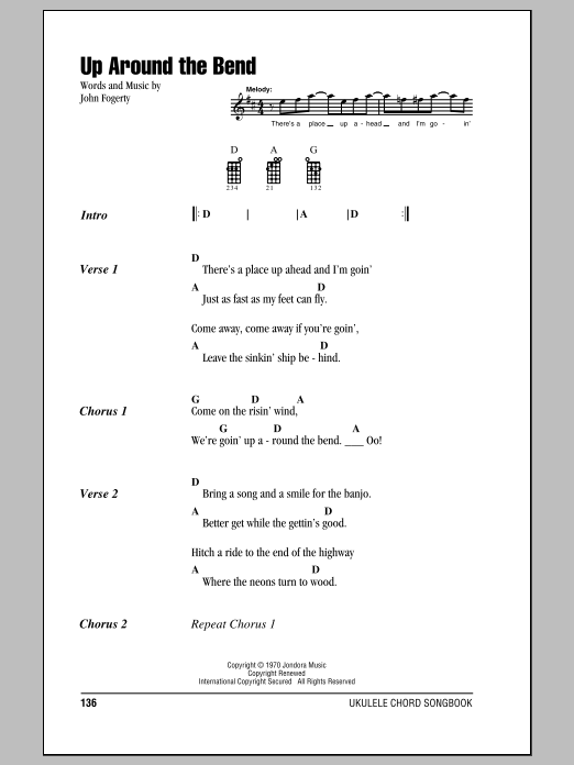 Tablature guitare Up Around The Bend de Creedence Clearwater Revival - Ukulele (strumming patterns)