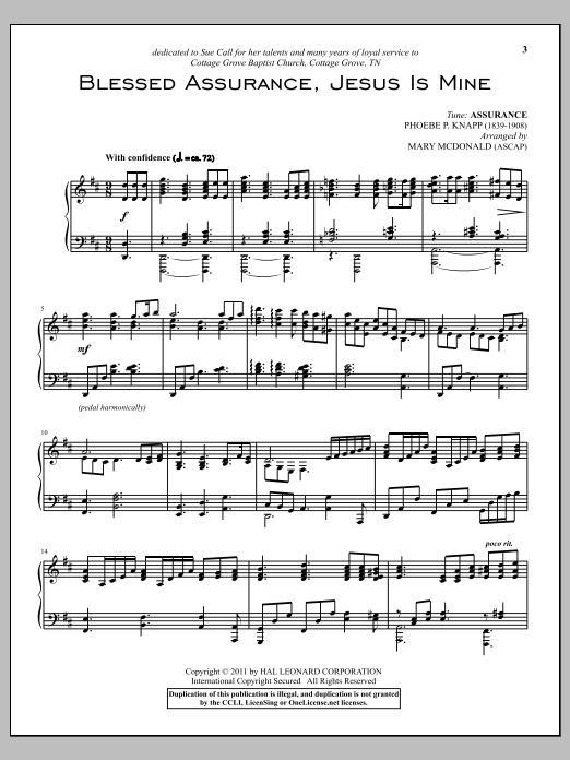 Partition piano Blessed Assurance de Phoebe Palmer Knapp - Piano Solo