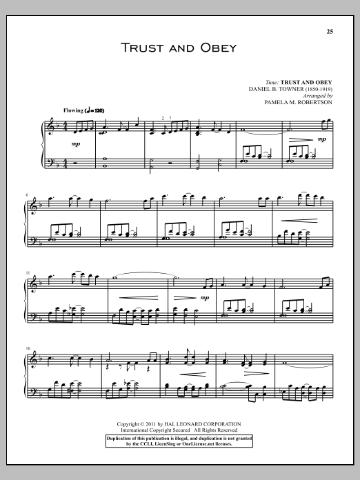 Partition piano Trust And Obey de John H. Sammis - Piano Solo