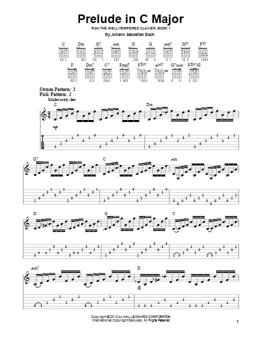 Tablature guitare Prelude In C Major de Johann Sebastian Bach - Tablature guitare facile
