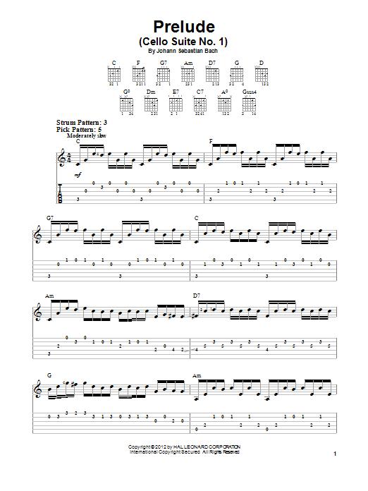 Tablature guitare Prelude (Cello Suite No. 1) de Johann Sebastian Bach - Tablature guitare facile