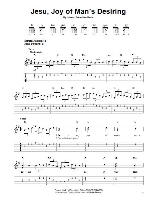 Tablature guitare Jesu, Joy Of Man's Desiring de Johann Sebastian Bach - Tablature guitare facile