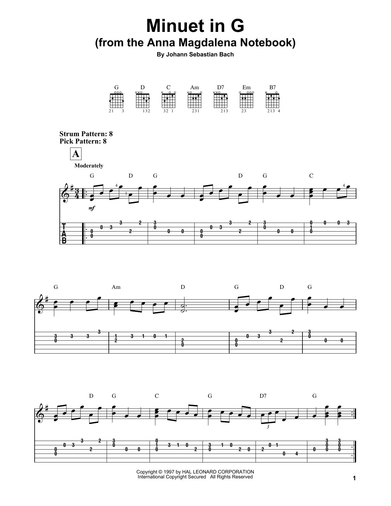 Tablature guitare Minuet In G de Johann Sebastian Bach - Tablature guitare facile