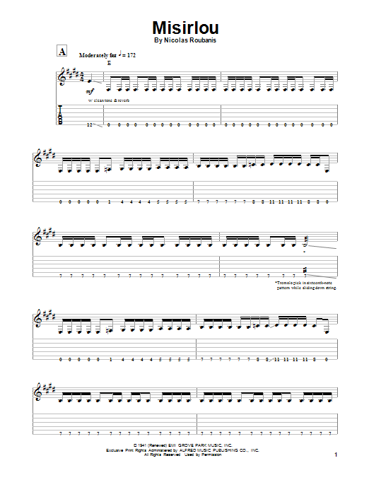 Misirlou sheet music for guitar solo (tablature, play-along) by Sidney Russell