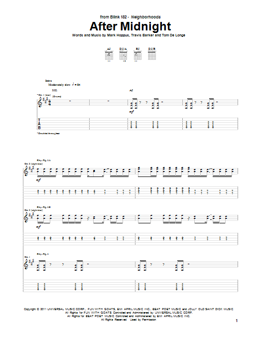 After Midnight sheet music for guitar solo (tablature) by Travis Barker