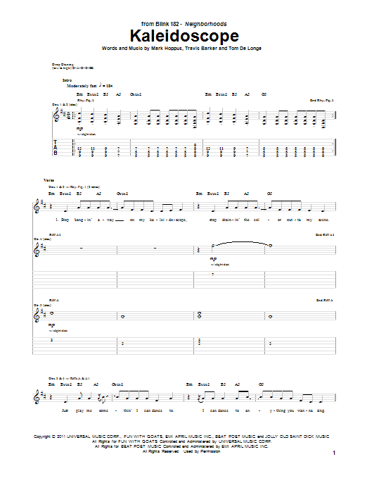 Kaleidoscope sheet music for guitar solo (tablature) by Travis Barker