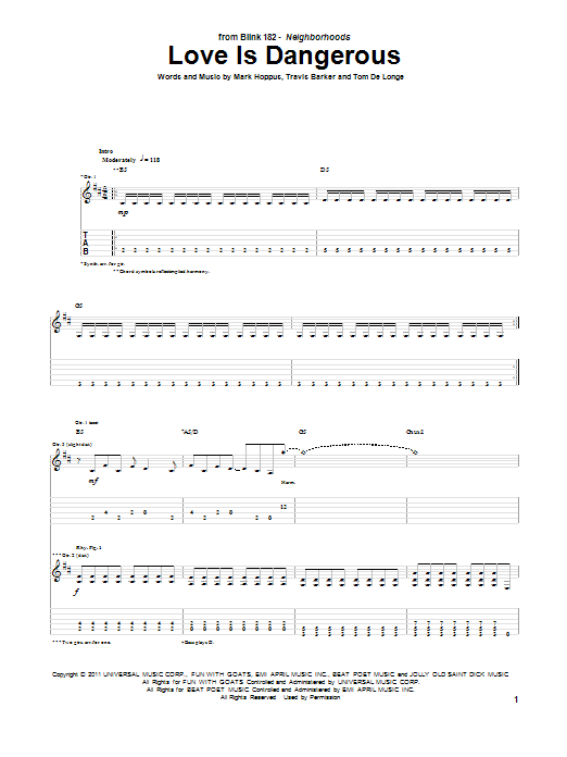 Tablature guitare Love Is Dangerous de Blink-182 - Tablature Guitare