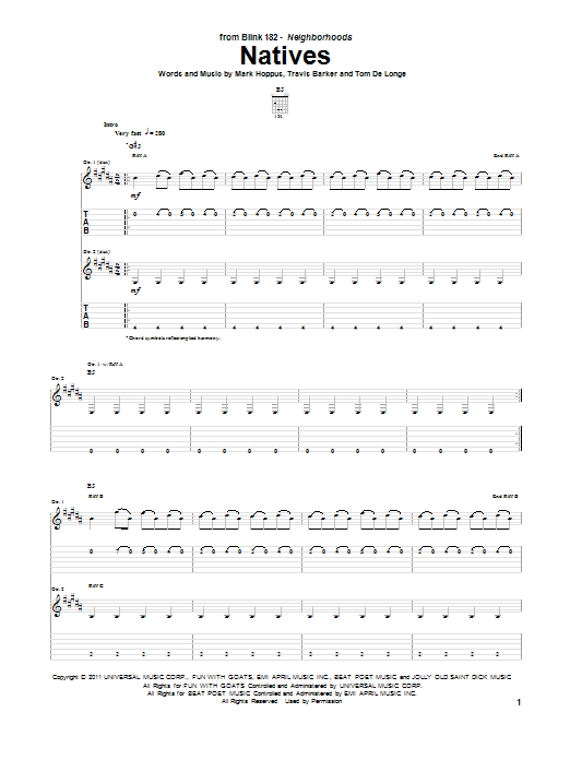 Tablature guitare Natives de Blink-182 - Tablature Guitare