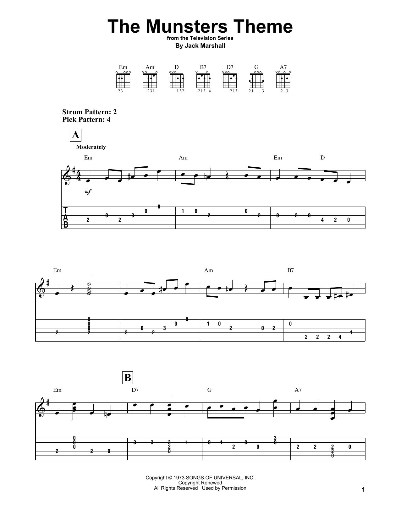 Tablature guitare The Munsters Theme de Jack Marshall - Tablature guitare facile