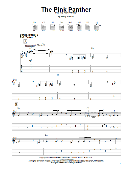 Tablature guitare The Pink Panther de Henry Mancini - Tablature guitare facile