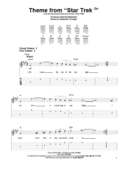 Tablature guitare Theme from Star Trek(R) de Gene Roddenberry - Tablature guitare facile