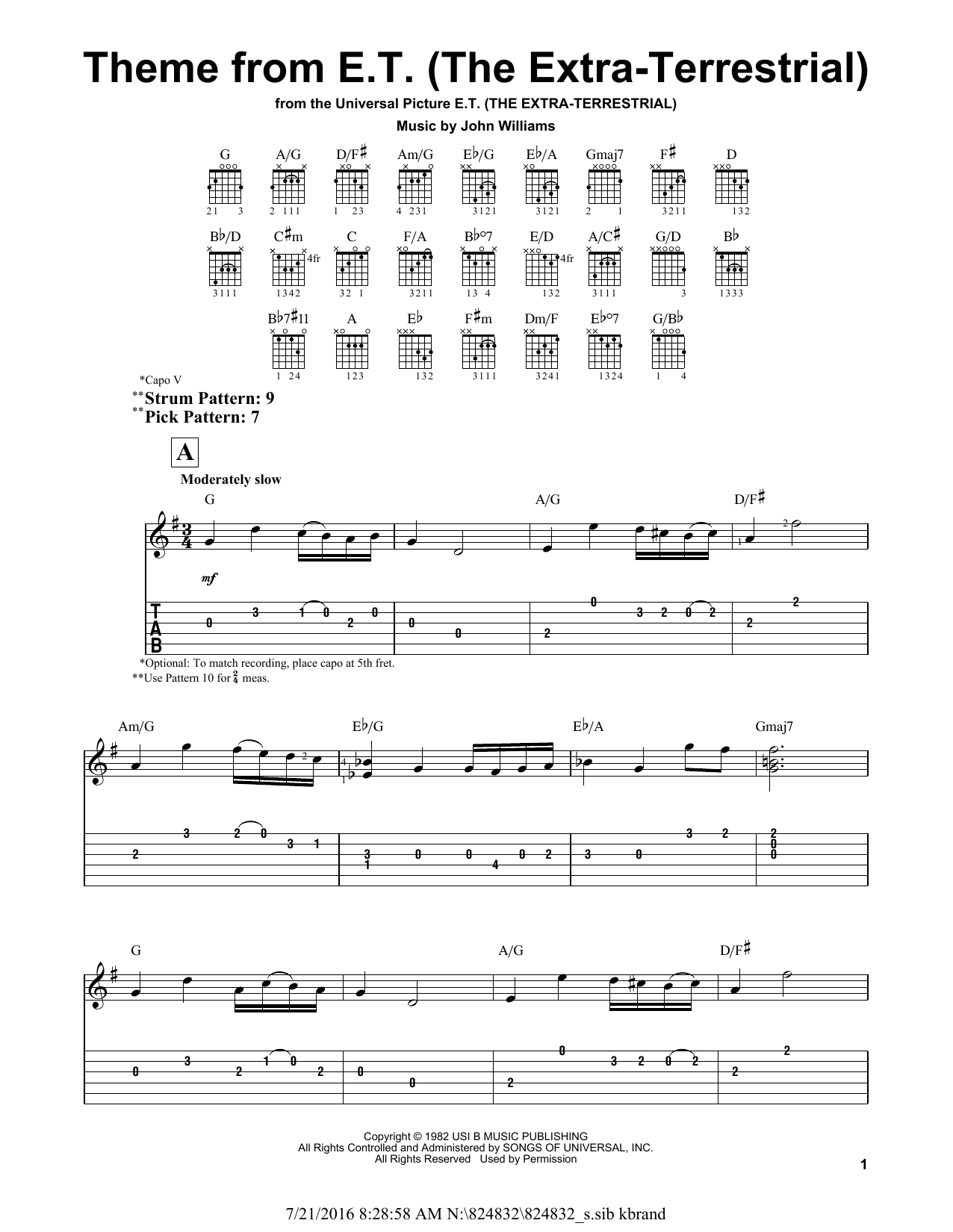 Tablature guitare Theme from E.T. (The Extra-Terrestrial) de John Williams - Tablature guitare facile