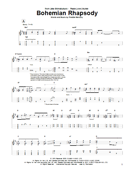 Bohemian Rhapsody sheet music by Jake Shimabukuro (Ukulele u2013 87841)