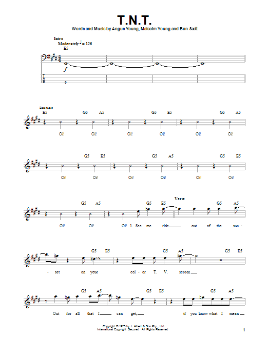 Tablature guitare T.N.T. de AC/DC - Tablature Basse