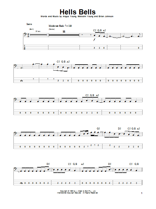 Tablature guitare Hells Bells de AC/DC - Tablature Basse