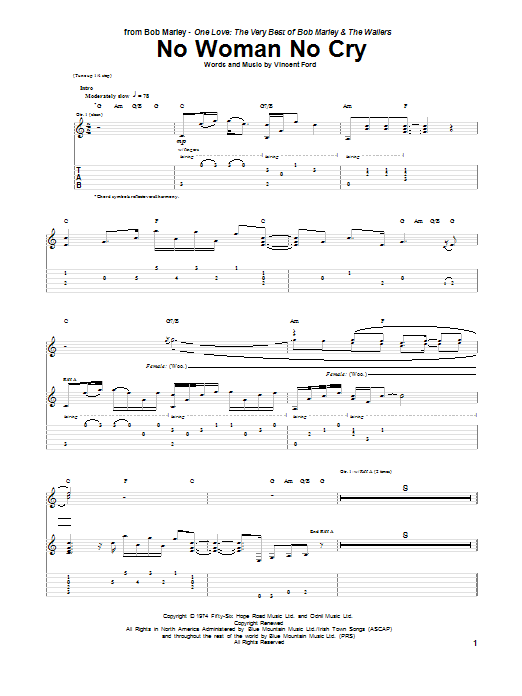 Tablature guitare No Woman No Cry de Bob Marley - Tablature Guitare
