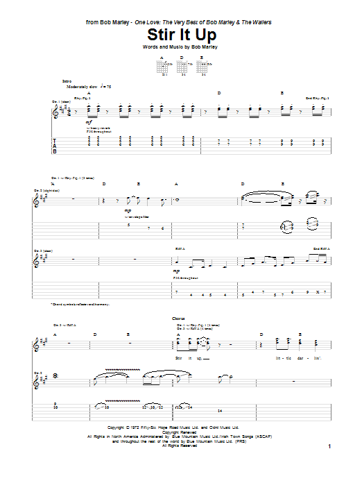 Tablature guitare Stir It Up de Bob Marley - Tablature Guitare