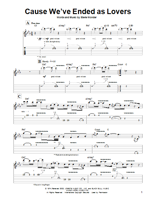 Tablature guitare Cause We've Ended As Lovers de Jeff Beck - Tablature Guitare