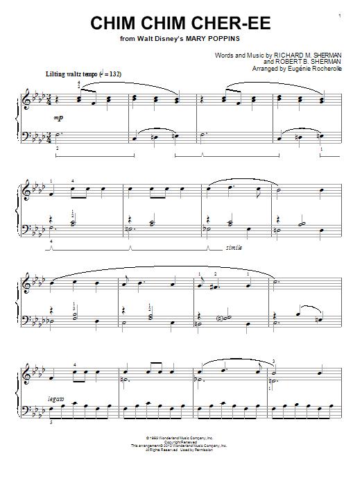 Partition piano Chim Chim Cher-ee de Eugenie Rocherolle - Piano Solo