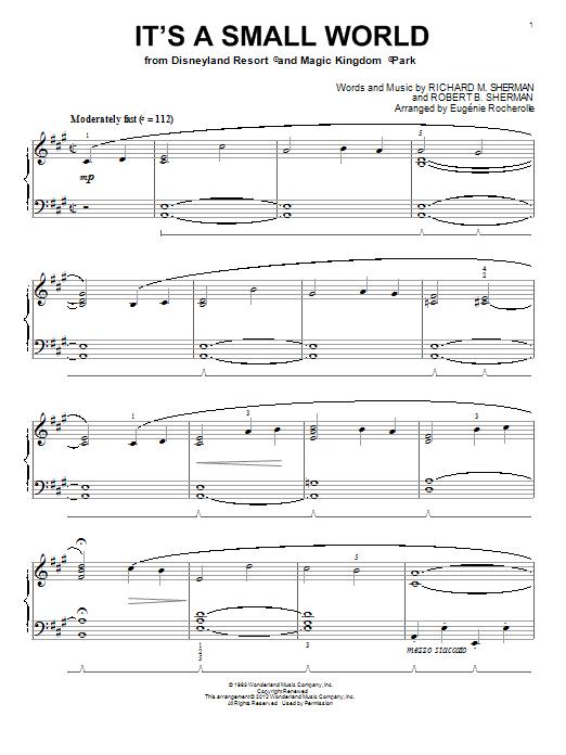 Partition piano It's A Small World de Eugenie Rocherolle - Piano Solo
