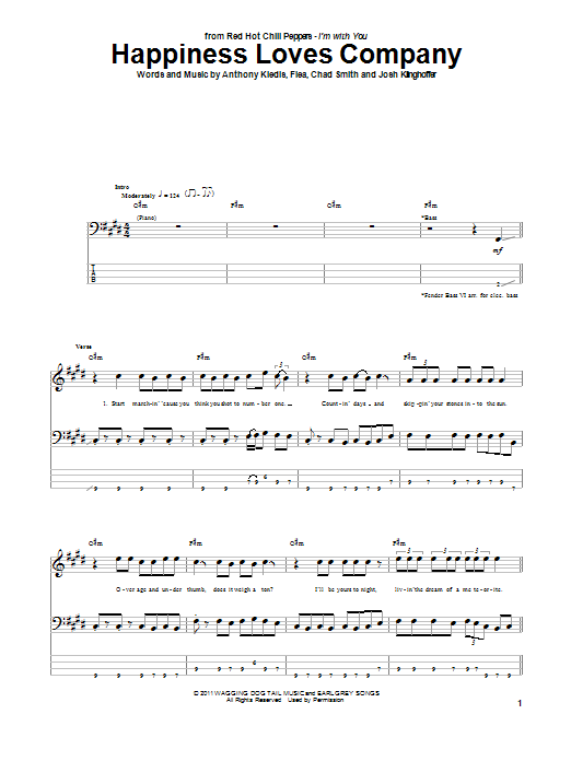 Tablature guitare Happiness Loves Company de Red Hot Chili Peppers - Tablature Basse