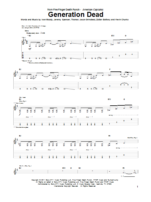 Generation Dead sheet music for guitar solo (tablature) by Zoltan Bathory