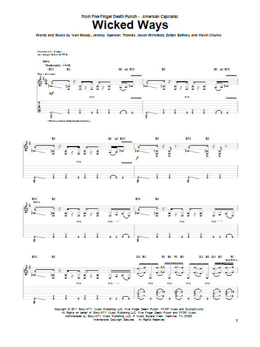 Wicked Ways sheet music for guitar solo (tablature) by Zoltan Bathory