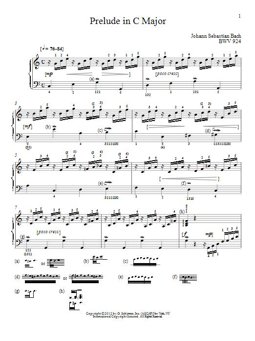 Partition piano Prelude In C Major, BMV 924 de Johann Sebastian Bach - Piano Solo