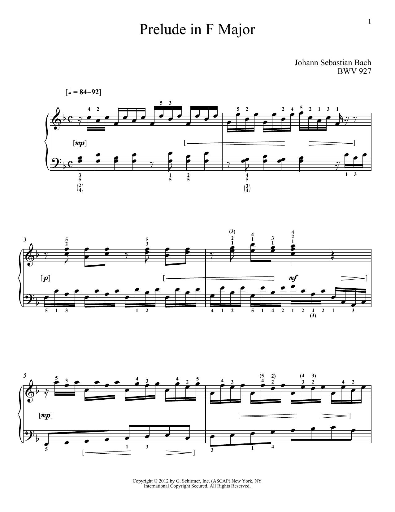 Partition piano Prelude In F Major, BMV 927 de Johann Sebastian Bach - Piano Solo