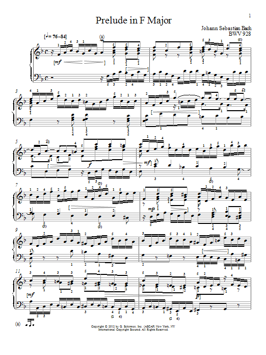 Partition piano Prelude In F Major, BMV 928 de Johann Sebastian Bach - Piano Solo