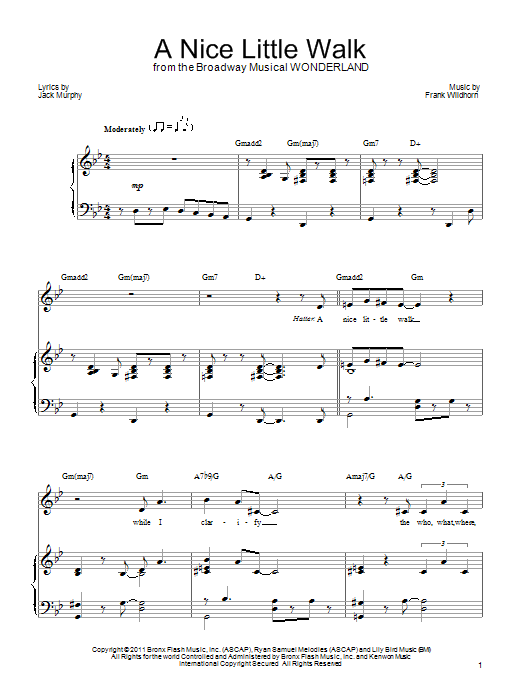A Nice Little Walk sheet music for voice, piano or guitar by Jack Murphy
