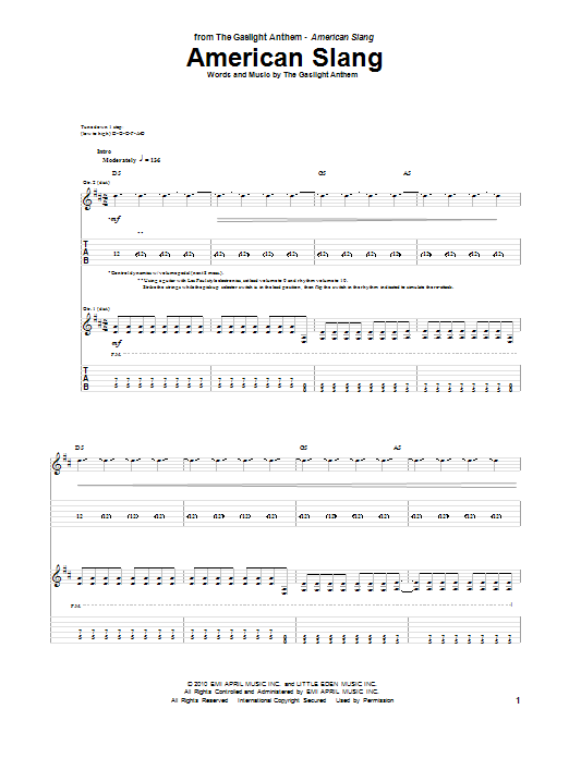 American Slang sheet music for guitar solo (tablature) by The Gaslight Anthem