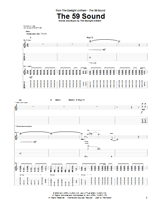 Tablature guitare The 59 Sound de The Gaslight Anthem - Tablature Guitare